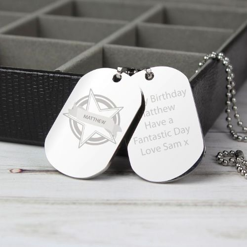 Personalised Star Stainless Steel Double Dog Tag Necklace